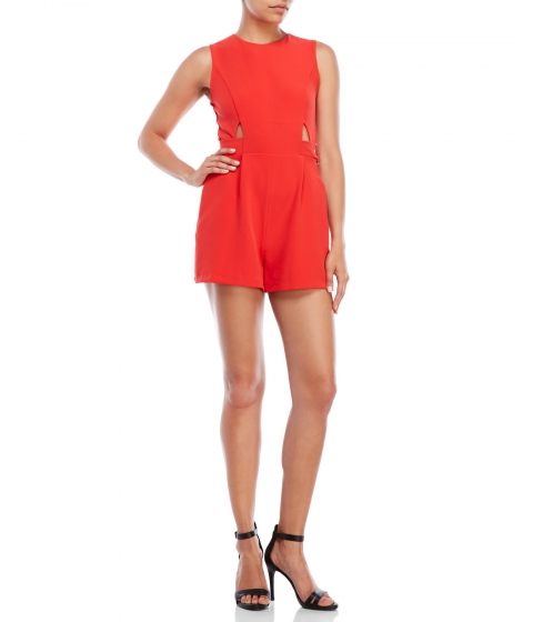 Imbracaminte Femei XOXO Sleeveless Belted Cutout Romper Red