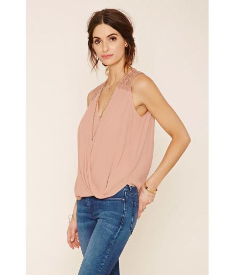 Imbracaminte Femei Forever21 Crochet-Paneled Surplice Top Dusty pink