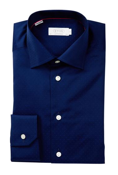 Imbracaminte Barbati Eton Long Sleeve Contemporary Fit Navy Dots Dress Shirt NAVY