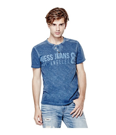 Imbracaminte Barbati GUESS Laec Short-Sleeve Jersey Henley indigo