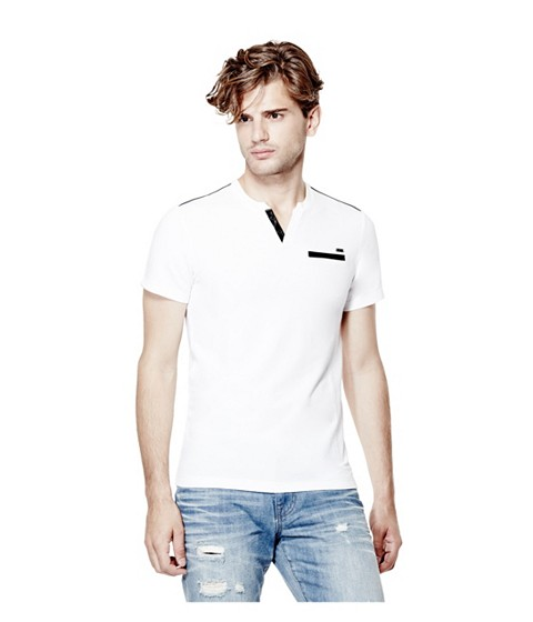 Imbracaminte Barbati GUESS Pryderi Faux-Leather Henley true white