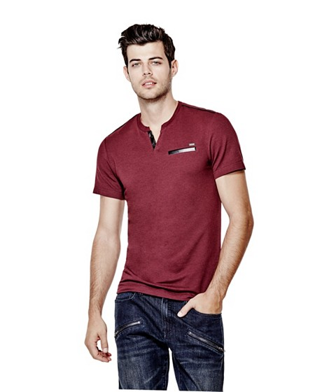 Imbracaminte Barbati GUESS Pryderi Faux-Leather Henley marmont red