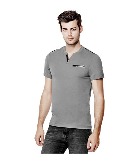 Imbracaminte Barbati GUESS Pryderi Faux-Leather Henley grey steel
