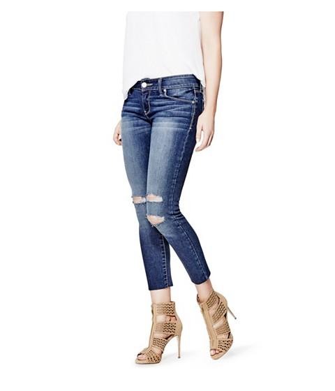 Imbracaminte Femei GUESS Braxton Destroyed Skinny Jeans dark destroy wash