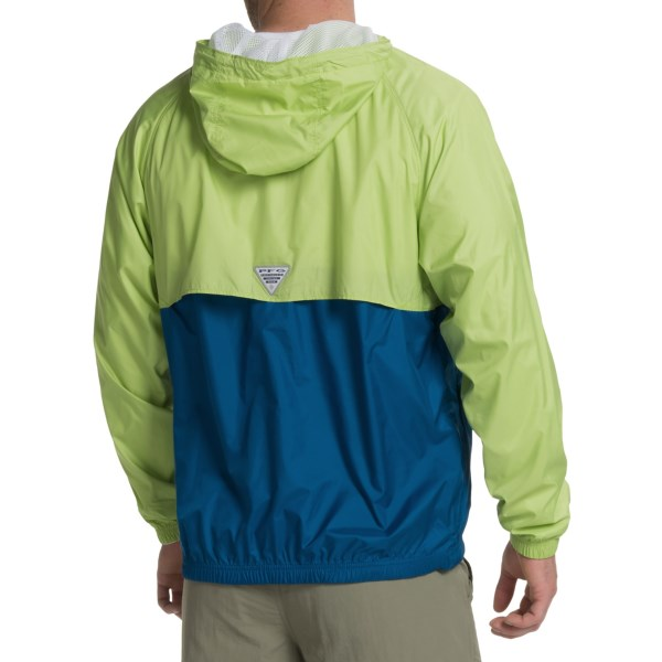 Imbracaminte Barbati Columbia PFG Terminal Spray Anorak Jacket - UPF 40 Zip Neck NAPA GREENMARINE BLUE (01)