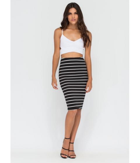 Imbracaminte Femei CheapChic Stripe For The Best Midi Pencil Skirt Black