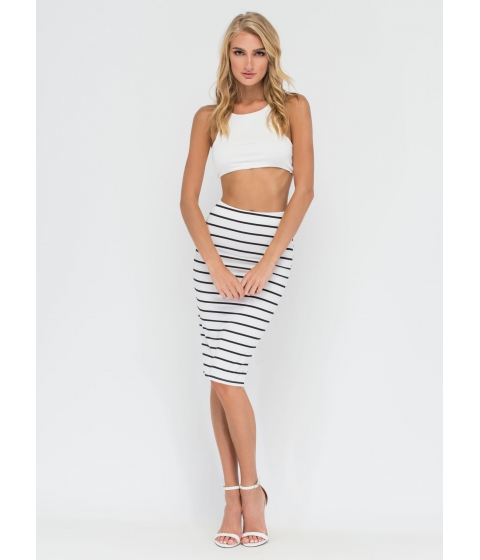 Imbracaminte Femei CheapChic Stripe For The Best Midi Pencil Skirt White