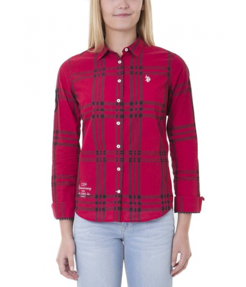 Imbracaminte Femei US Polo Assn Black Mallet Plaid Shirt CRIMSON