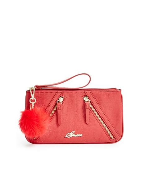 Accesorii Femei GUESS Chantilly Zipper Pom Wristlet red