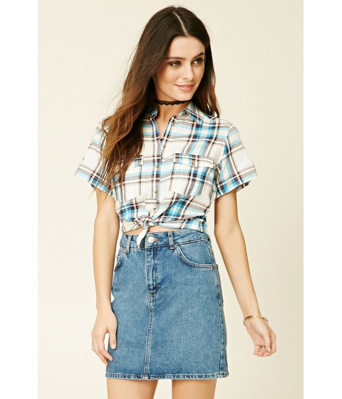Imbracaminte Femei Forever21 Patch Pocket Plaid Shirt Blue