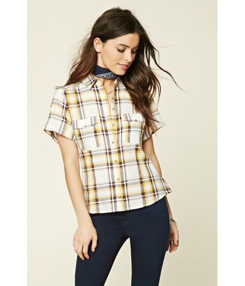 Imbracaminte Femei Forever21 Patch Pocket Plaid Shirt Yellow