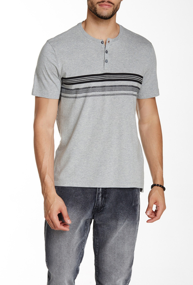 Imbracaminte Barbati Kenneth Cole New York Contrast Stripe Henley Tee Heather Grey