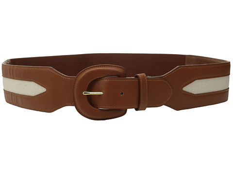 Accesorii Femei LAUREN Ralph Lauren Classics 2 12quot Leather Covered Buckle Stretch Belt w Smooth PU amp Inset Canvas Lauren Tan