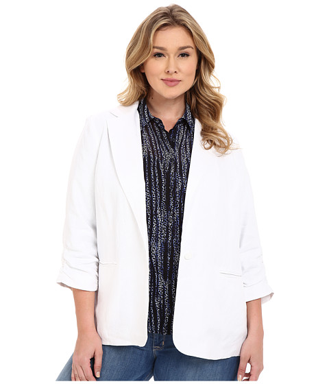 Imbracaminte Femei Michael Kors Plus Size Linen Shired Boyfriend Jacket White