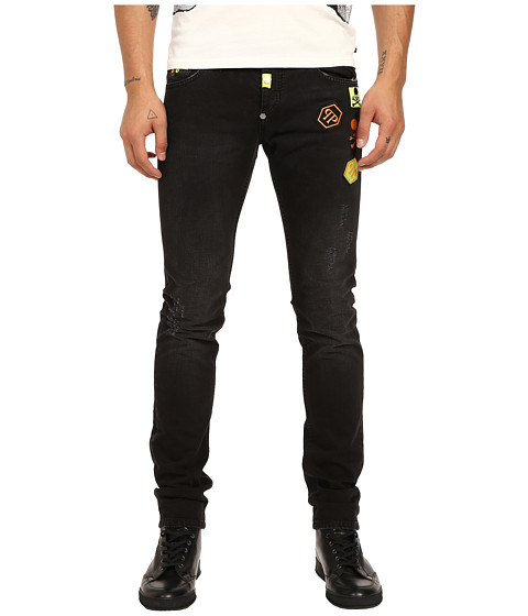 Imbracaminte Barbati Philipp Plein Fierce Straight Cut Denim in Black Friday Black Friday