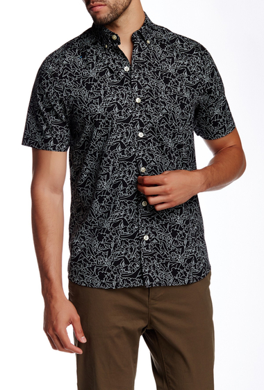 Imbracaminte Barbati Kennington Scribble Print Woven Short Sleeve Shirt BLACK