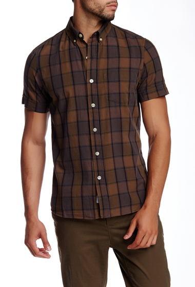 Imbracaminte Barbati Kennington Plaid Print Woven Short Sleeve Shirt MUSTARD