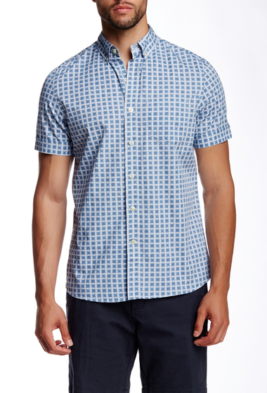 Imbracaminte Barbati Kennington Square Print Woven Short Sleeve Shirt INDIGO