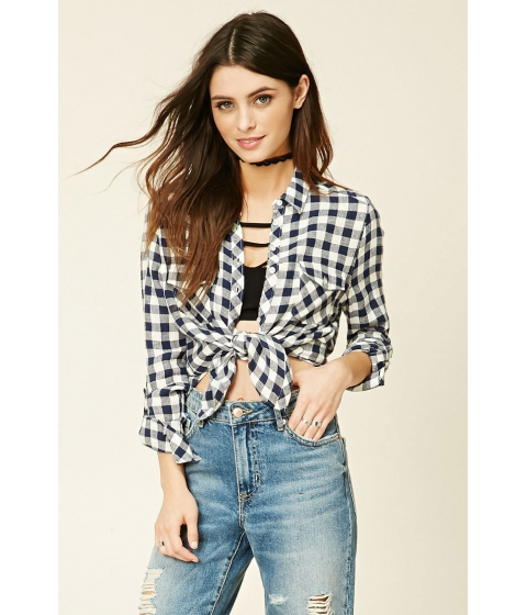 Imbracaminte Femei Forever21 Gingham Button-Front Shirt Navywhite