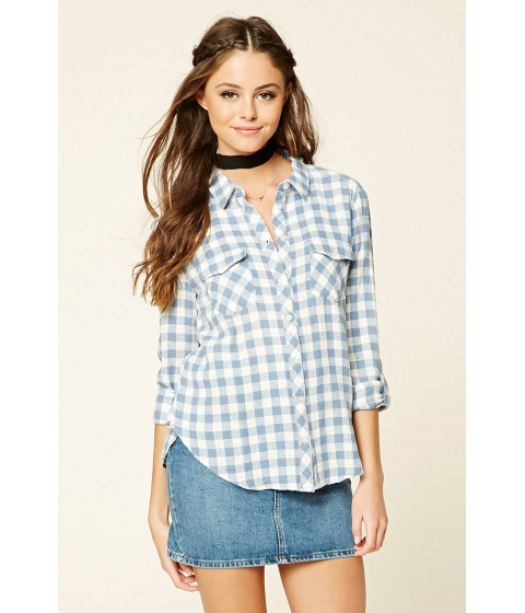 Imbracaminte Femei Forever21 Gingham Button-Front Shirt Bluewhite