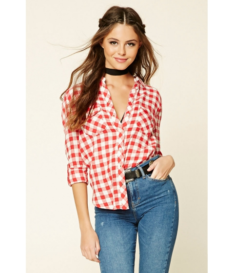 Imbracaminte Femei Forever21 Gingham Button-Front Shirt Redwhite