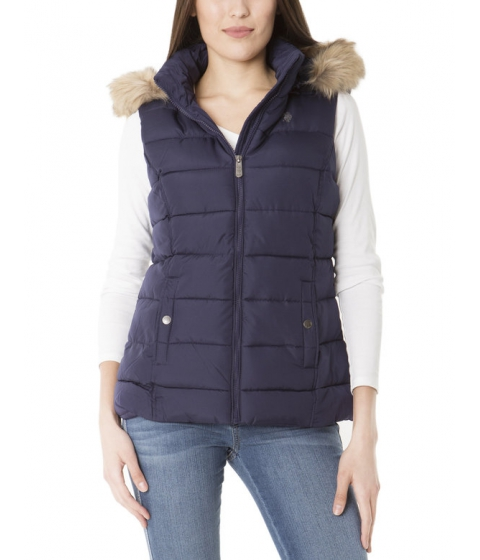Imbracaminte Femei US Polo Assn QUILTED VEST WITH FUR HOOD EVENING BLUE