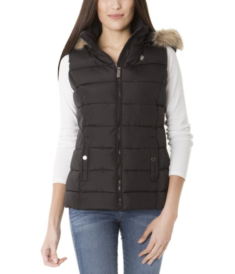 Imbracaminte Femei US Polo Assn QUILTED VEST WITH FUR HOOD Black