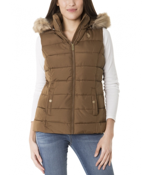Imbracaminte Femei US Polo Assn QUILTED VEST WITH FUR HOOD LIGHT OLIVE