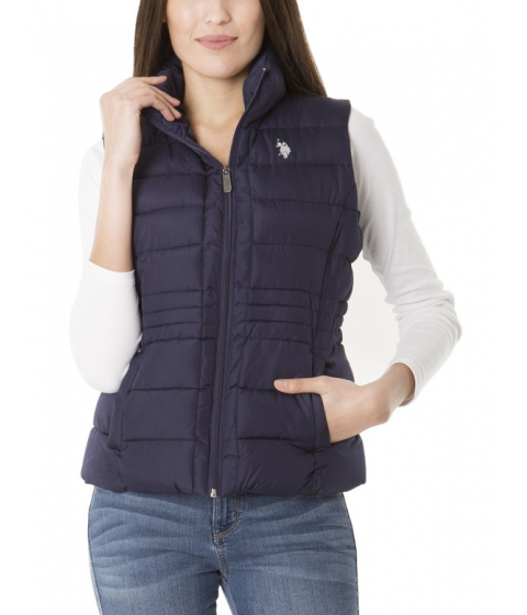 Imbracaminte Femei US Polo Assn Sherpa Lined Hooded Vest EVENING BLUE