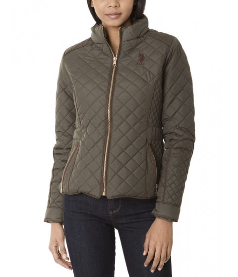 Imbracaminte Femei US Polo Assn QUILTED ZIP FRONT JACKET WITH PIPPING BURNT OLIVE