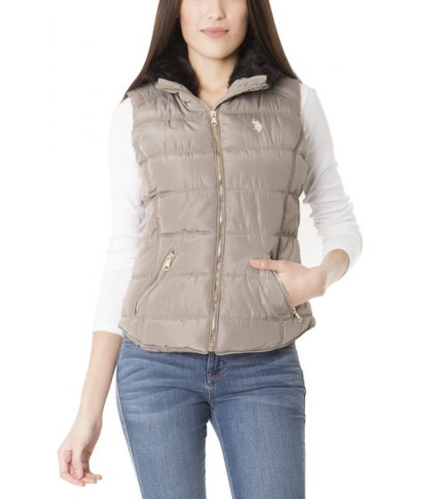 Imbracaminte Femei US Polo Assn FUR COLLAR SHIRTTAIL VEST MOONROCK