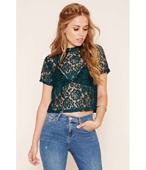 Imbracaminte Femei Forever21 Floral Lace Top Teal