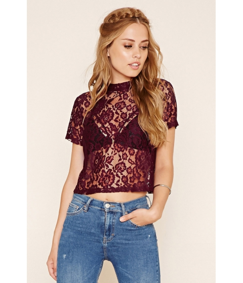 Imbracaminte Femei Forever21 Floral Lace Top Burgundy