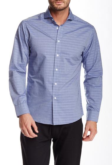 Imbracaminte Barbati Vince Camuto Stripe Long Sleeve Slim Fit Shirt Navy Dobby Stripe