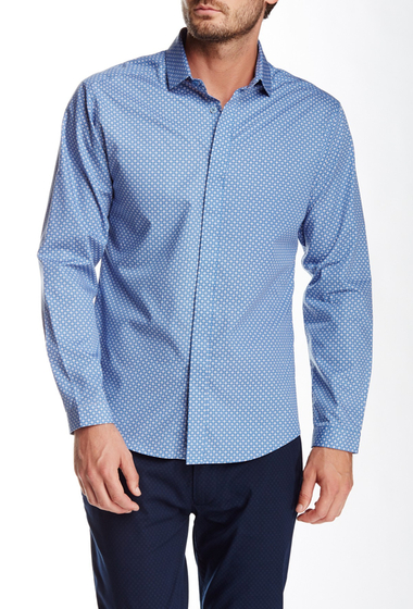Imbracaminte Barbati Vince Camuto Long Sleeve Printed Slim Fit Shirt Blue Chambray Print