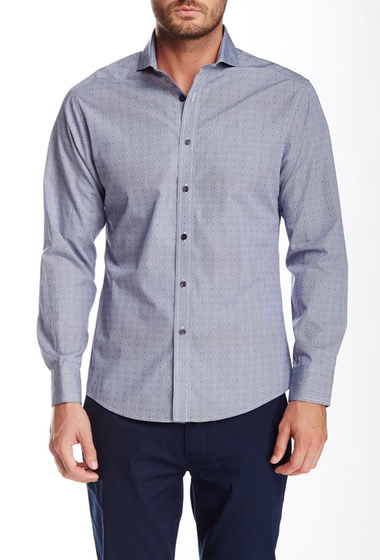 Imbracaminte Barbati Vince Camuto Long Sleeve Dobby Gingham Slim Fit Shirt Navy Dobby Gingham