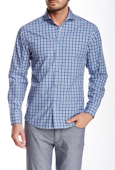 Imbracaminte Barbati Vince Camuto Plaid Long Sleeve Slim Fit Shirt Navy Ombre Plaid
