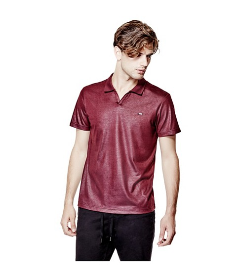 Imbracaminte Barbati GUESS Accius Coated Polo marmont red