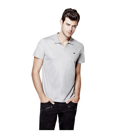 Imbracaminte Barbati GUESS Accius Coated Polo frost grey