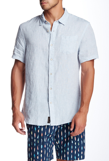 Imbracaminte Barbati JACHS Linen Chambray Short Sleeve Classic Fit Shirt BLUE