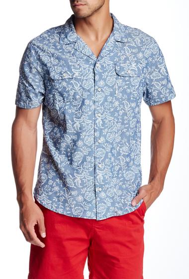 Imbracaminte Barbati JACHS Cuban Body Double Floral Print Short Sleeve Classic Fit Shirt INDIGO
