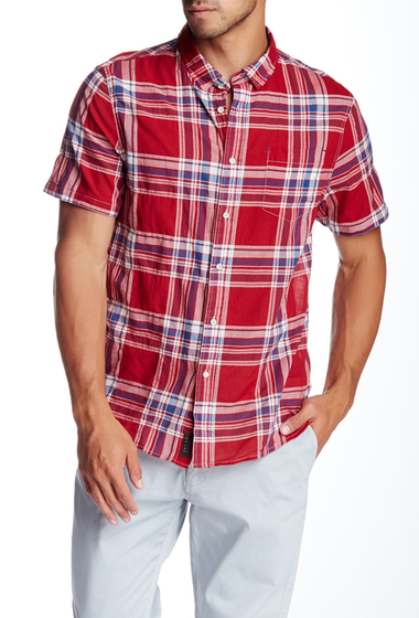 Imbracaminte Barbati JACHS Plaid Short Sleeve Classic Fit Shirt RED