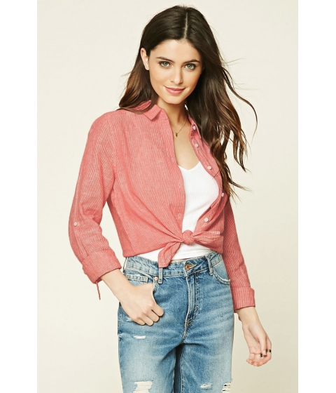 Imbracaminte Femei Forever21 Striped Pocket Shirt Red