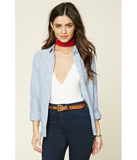 Imbracaminte Femei Forever21 Striped Pocket Shirt Blue