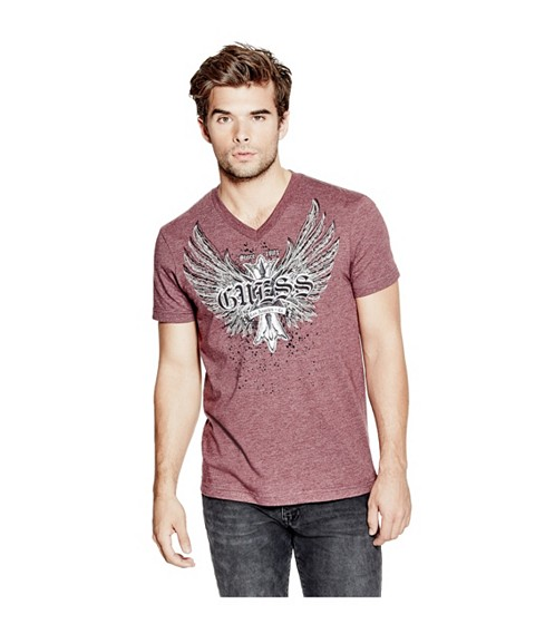 Imbracaminte Barbati GUESS Heckler V-Neck Tee marmont red