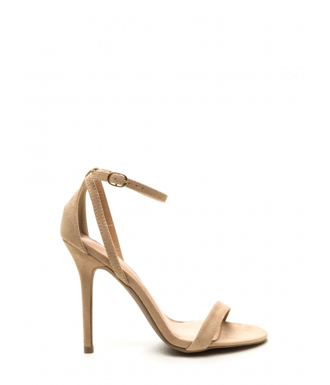 Incaltaminte Femei CheapChic Hold On Faux Suede Ankle Strap Heels Natural