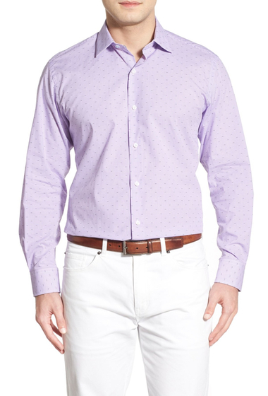 Imbracaminte Barbati TailorByrd Oleander Regular Fit Dobby Check Sport Shirt Big Tall LAVENDER