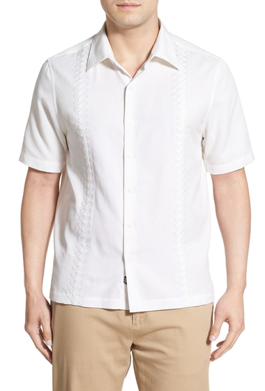 Imbracaminte Barbati Nat Nast Belicoso Regular Fit Short Sleeve Embroidered Silk Blend Sport Shirt WHITE
