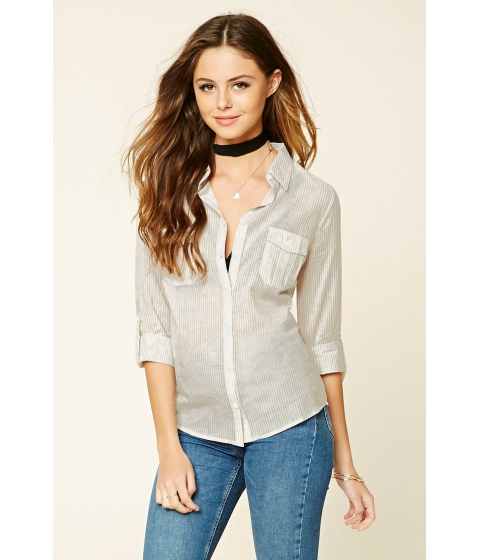 Imbracaminte Femei Forever21 Striped Pocket Shirt Taupe