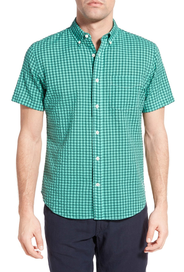 Imbracaminte Barbati Relwen Classic Fit Check Short Sleeve Sport Shirt MINT GINGHAM